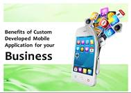 Benefits of Custom Developed Mobile Application for your  Business powerpoint presentation