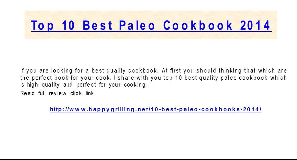Best paleo cookbooks review 2014