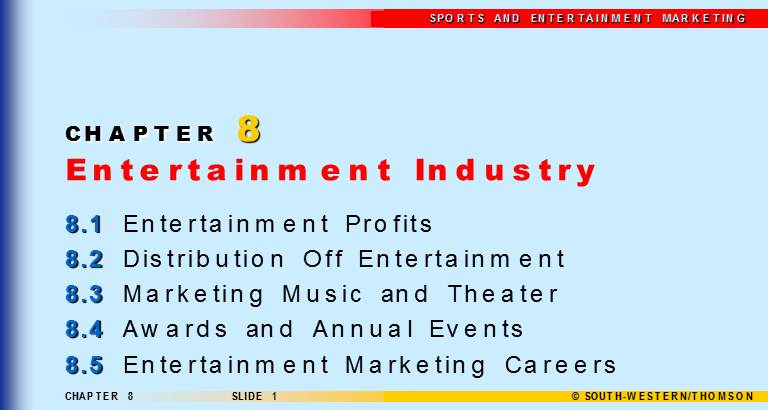 CHAPTER 8 : Entertainment Industry