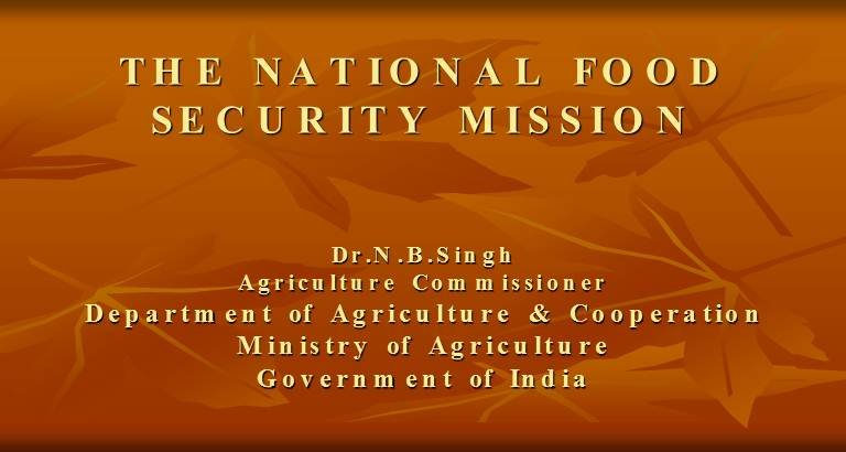 THE NATIONAL FOOD SECURITY MISSION