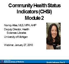 Community Health Status : Indicators (CHSI) Module 2