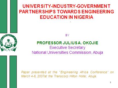 Executive Secretary. National Universities Commission, Abuja . Paper presen