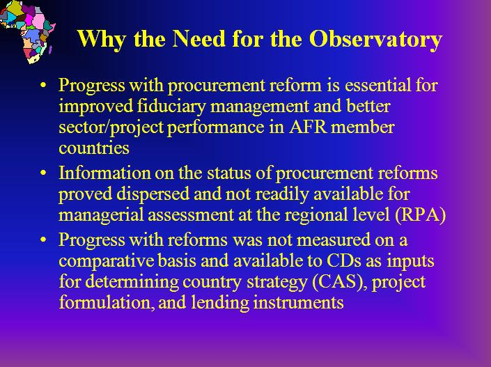 Africa Region Procurement Reform Observatory