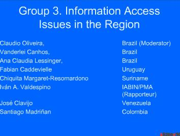 Group 3. Information Access Issues in the Region