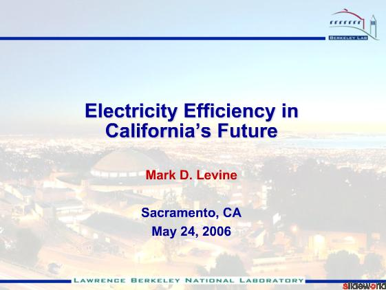 Electricity Efficiency in California's Future