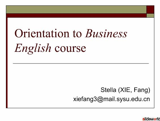 Orientation to Business English course
