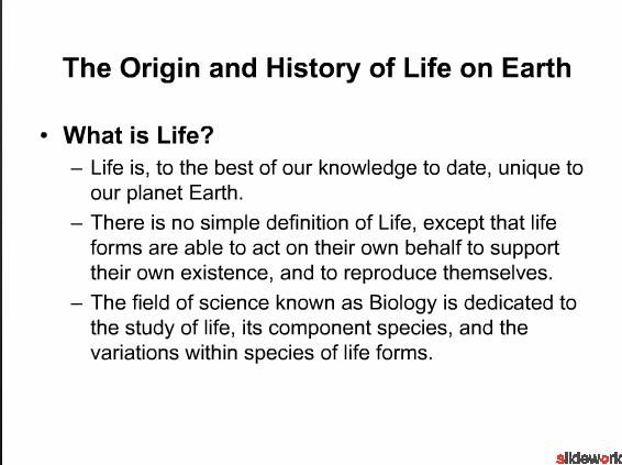 The Origin and History of Life on Earth