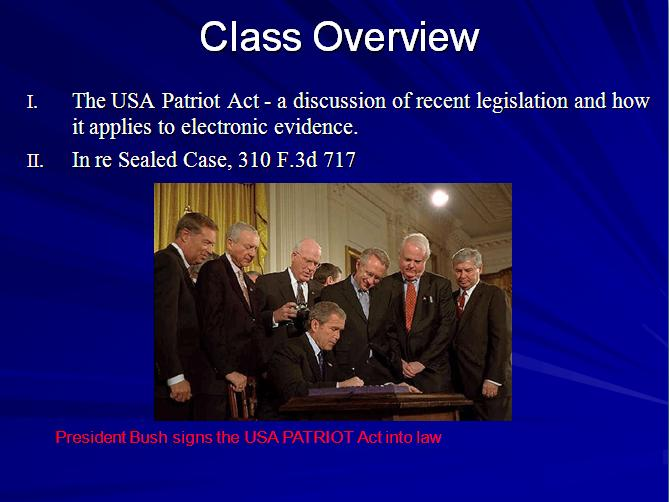 USA PATRIOT Act Overview 