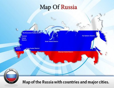 Map of Russia  PowerPoint Templates