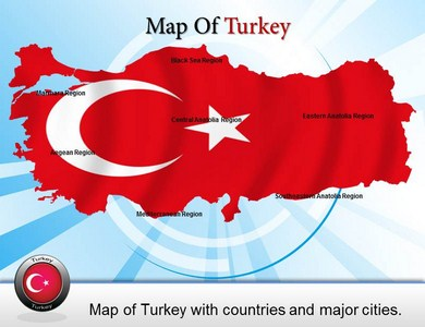 Turkey Border Map  PowerPoint Templates