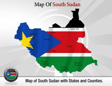 Southern Sudan Map  PowerPoint Templates