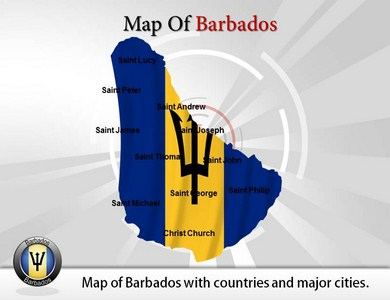 Map of Barbados  PowerPoint Templates