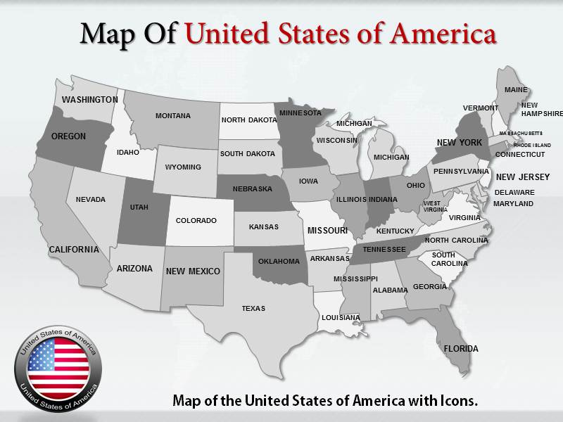 Usa Map With Icons Powerpoint Templates Usa Map With Icons Ppt - Us-map-powerpoint-template