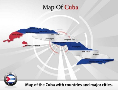 Map of Cuba  PowerPoint Templates