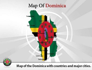Map of Dominica  PowerPoint Templates