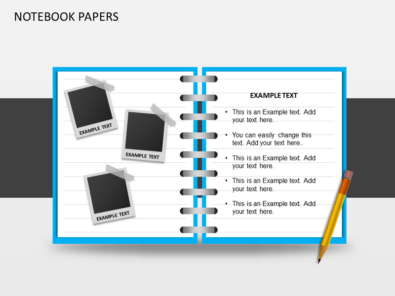 notebooks papers powerpoint template | notebooks papers ppt, Modern powerpoint