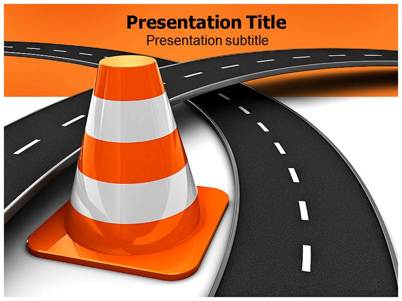 Fork On Road Powerpoint Template Road Repair Ppt Background