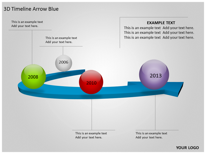 3d timeline arrow blue powerpoint template ppt 3d