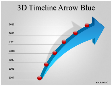 3D Timeline Arrow Blue Powerpoint Templates