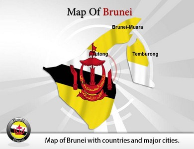 Map of Brunei Powerpoint Templates