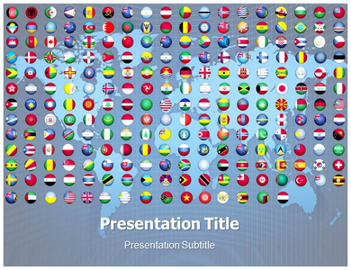 Flags of the World Buttons Powerpoint Templates