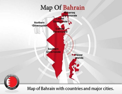 Map of Bahrain  PowerPoint Templates