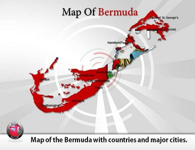 Map of Bermuda  PowerPoint Templates