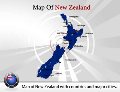 Map of New Zealand  PowerPoint Templates