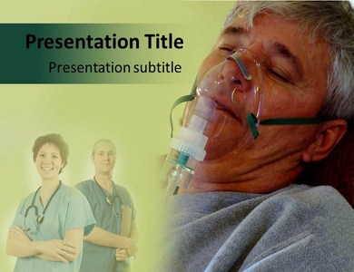 Patient with oxygen mask Powerpoint Templates