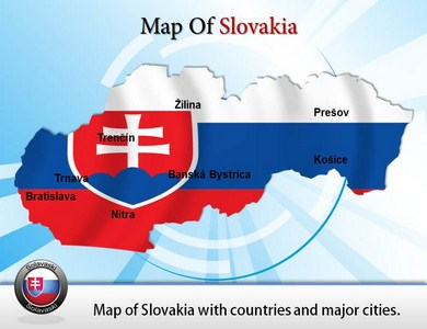 Map of Slovakia with Cities  PowerPoint Templates