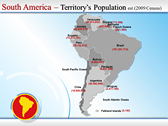 Map of South America  ppt templates