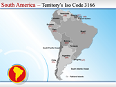 Map of South America  background PowerPoint Templates