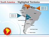 Map of South America  powerpoint slide templates