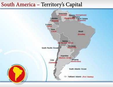 Map of South America  PowerPoint Templates