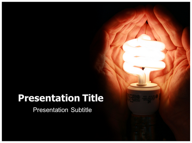 Download an energy saving bulb with wind turbines powerpoint template.