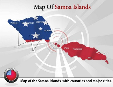Map of Samoa Islands  PowerPoint Templates