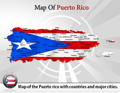 Map of Puerto Rico  PowerPoint Templates