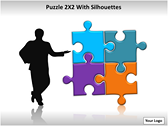 Puzzel 2x2 with Silhouettes PPT Template powerPoint template