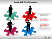 Puzzel 2x2 with Silhouettes PPT Template powerPoint background