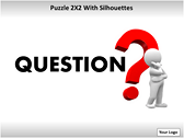 Puzzel 2x2 with Silhouettes PPT Template power Point Backgrounds