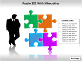 Puzzel 2x2 with Silhouettes PPT Template powerPoint templates