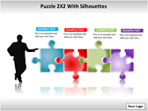 Puzzel 2x2 with Silhouettes PPT Template powerpoint template download