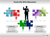 Puzzel 2x2 with Silhouettes PPT Template ppt templates
