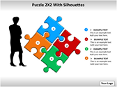 Puzzel 2x2 with Silhouettes PPT Template slides for powerpoint