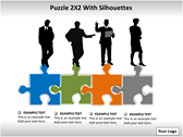 Puzzel 2x2 with Silhouettes PPT Template power Point templates