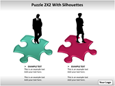 Puzzel 2x2 with Silhouettes PPT Template backgroundPowerPoint Templates