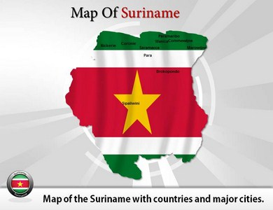 Map of Suriname  PowerPoint Templates