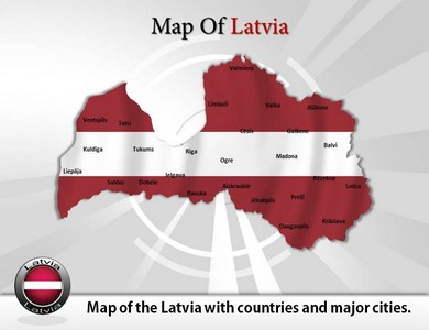 Map of Latvia  PowerPoint Templates