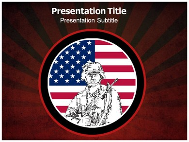 American Revolution Accompanied With US Flag Powerpoint Templates