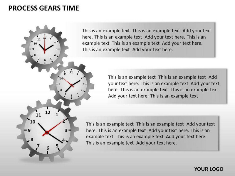 Process Gears Time Chart Powerpoint Templates